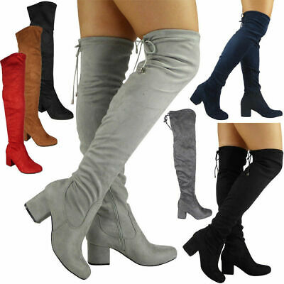 Ladies Thigh High Boots Womens Over The Knee Lace Up Casual Long Low Heel Shoes  • 23.99£