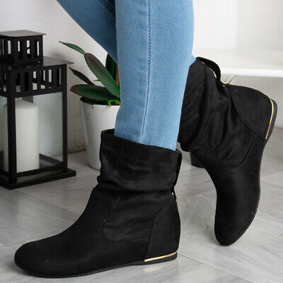 Womens Wedge Boots Ladies Hidden Slouch Low Heel Ankle Faux Suede Shoes Size • 19.99£