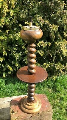 £49.99 • Buy Beautiful Vintage Wooden Barley Twist And Brass Tall Ashtray *