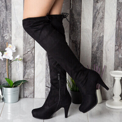 Womens Thigh High Boots Ladies Stretchy Over The Knee Plain Long Heel Shoes Size • 19.99£