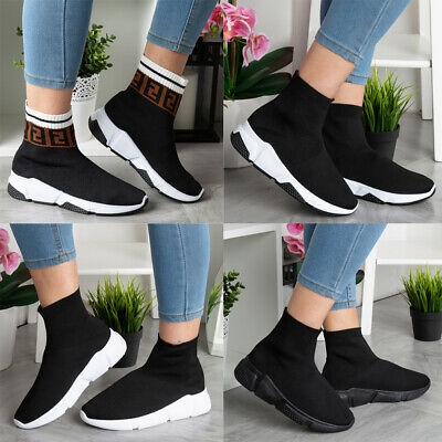 £14.99 • Buy Ladies Running Trainers Womens Sock Fitness Sports Slip On Gym Pumps Shoes Size