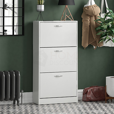 £41.95 • Buy 3 Drawer Shoe Cabinet Storage Cupboard Footwear Stand Rack Wooden Unit White New