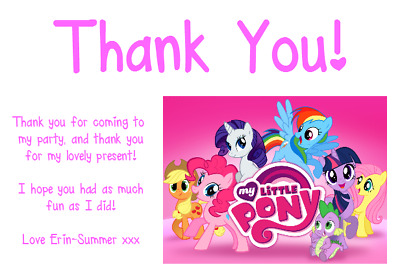Personalised Photo Paper Card Thank You Notes MY LITTLE PONY • 1.99£