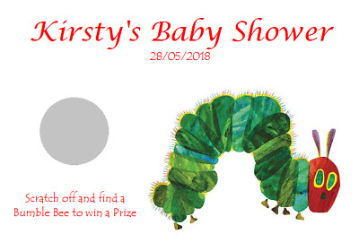 Personalised Baby Shower Party Favour Scratchcards The Very Hungry Caterpillar • 0.99£