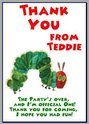 Personalised Photo Paper Card Party Thank You Notes VERY HUNGRY CATERPILLAR #2 • 0.99£
