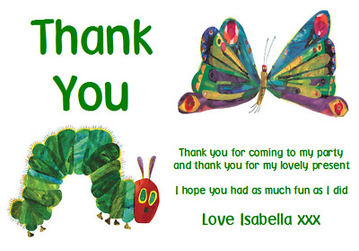 Personalised Photo Paper Card Party Thank You Notes THE VERY HUNGRY CATERPILLAR • 0.99£