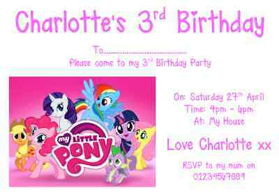Personalised Photo Paper Card Party Invites Invitations MY LITTLE PONY • 1.99£