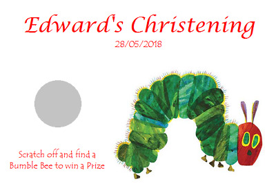 Personalised Christening Favour Scratchcards Scratch Cards Hungry Caterpillar • 0.99£