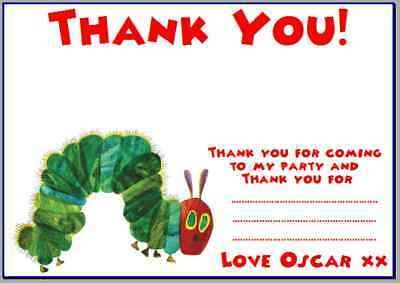 Personalised Photo Paper Card Party Thank You Notes VERY HUNGRY CATERPILLAR #5 • 3.49£