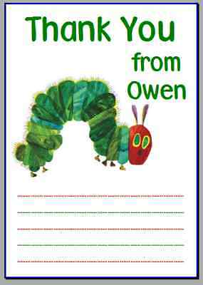 Personalised Photo Paper Card Party Thank You Notes VERY HUNGRY CATERPILLAR #3 • 0.99£
