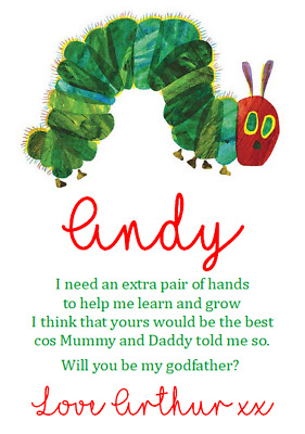 £1.49 • Buy Will You Be My Godmother Godfather Godparents Request Card Hungry Caterpillar