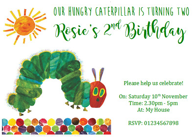 Personalised Party Invitations Birthday THE VERY HUNGRY CATERPILLAR 1ST 2ND 3RD • 7.99£