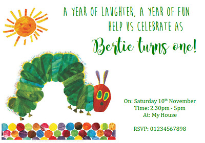 Personalised Party Invitations Birthday THE VERY HUNGRY CATERPILLAR 1ST • 2.49£