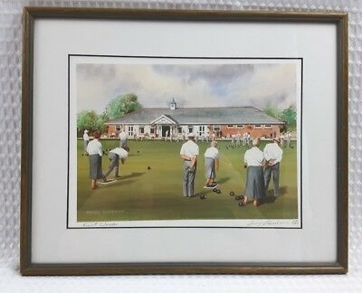 £24 • Buy Terry Harrison Signed Ltd Edition Print 'First Woods' Hook Hants Bowls Excellent