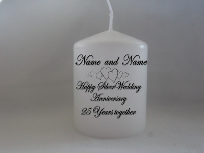 £6.99 • Buy Unique Personalised Silver Wedding Anniversary 25th Wedding Anniversary Candle