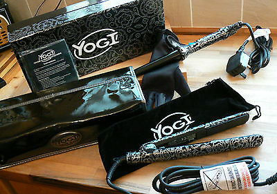 Yogi Hair Curling Wand & Hair Straightener Kit Black & White Floral  Gift Box • 46.50£