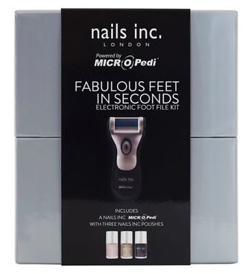 Nails Inc Micro Pedi Fabulous Feet In Seconds Electronic Foot File Kit NEW • 29.99£