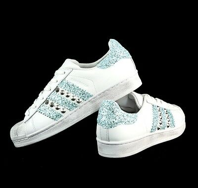 aa89ce1eb81e6 Adidas Superstar Con Glitter Color Tiffany Piu  Borchie Argento • 139.00€