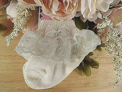 £3.99 • Buy Baby Girl Cream Ladybird Lace Frilly Christening Occasion Party Socks 0-3-6-12m