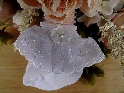 £3.99 • Buy Baby Girl White Broderie Lace Flower Pearls Frilly Christening Party Socks 3-6m