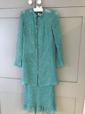Caroline Charles Silk Dress And Jacket Size 10 • 100£