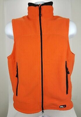Ralph Lauren RLX Orange Fleece Zip Vest Thermal Pro Polartec Sz Small • 31.44$