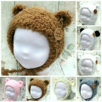 Baby Hand Knitted Bonnets New Fleece Soft Fur Hat With Ears Gift Teddy Bear Prop • 9.50£