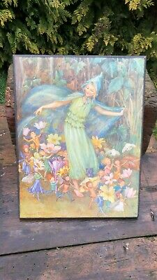 Signed Margaret W Tarrant Fairies Vintage Framed Print On Wooden Board * • 45£