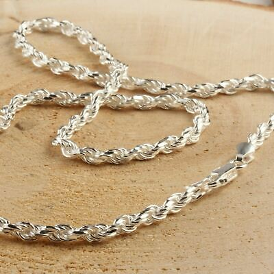 $73.80 • Buy Solid Sterling Silver Italian Rope Chain Mens 925 Necklace 4mm - Made In Italy
