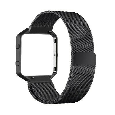 AU21.62 • Buy Fitbit Blaze BLACK Metal STRAP With FRAME Magnetic Milanese Band Small Large