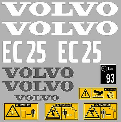 £32.99 • Buy Volvo Ec25 Digger Complete Decal Sticker Set With Safety Warning Decals
