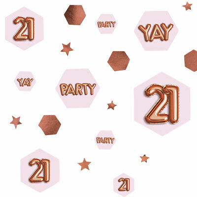 100 X 21st Rose Gold Glitz Table Scatters Confetti Ladies 21 Birthday Party  • 4.55£