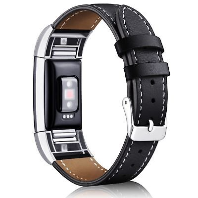 AU25.26 • Buy Fitbit Charge 2 Band Genuine Calf Leather Strap CLASSIC BLACK Adjustable