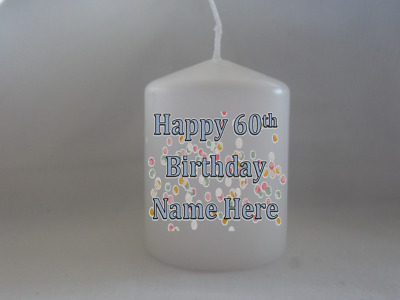 Personalised Happy Birthday Candle Gift 55th 60th 65th 70th 75th 80th 85th 90th  • 6.99£