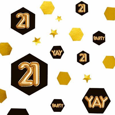 100 X 21st Black Glitz & Gold Table Scatters Confetti Ladies 21 Birthday Party • 4.55£