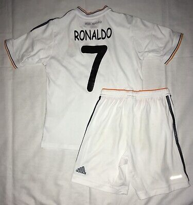 1ea48f07e Real Madrid  7 Cristiano Ronaldo White Adidas Jersey Shorts Set Youth Small  9-