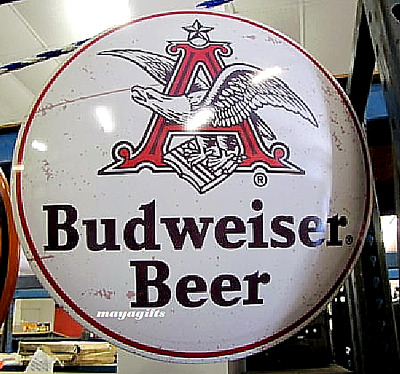 $ CDN294.61 • Buy 17''x 17'' Budweiser Beer Domed Metal Sign, Bar Man Cave Garage Shop Decor Gift