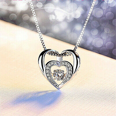 £3.97 • Buy Double Heart Pendant 925 Sterling Silver Chain Necklace Womens Girls Jewellery