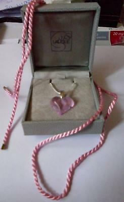 Lalique Crystal Glass Very Pretty Heart Pendant Pretty Pink  - Stunning • 149£