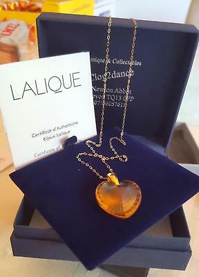 Pendant - Lalique  Amber  Heart 9ct Gold Gold Chain Gift Idea/investment Rare • 149£