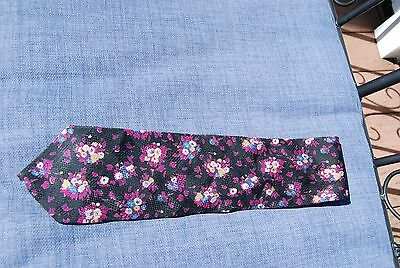 $9.99 • Buy Black Textured W/ Fuschia Silver & Gold PIERRE BALMAIN Floral Silk Neck Tie