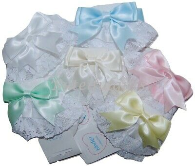 Baby & Girls Stunning Spanish Style Ribbon & Lace Double Bow Frilly Ankle Socks  • 4.99£