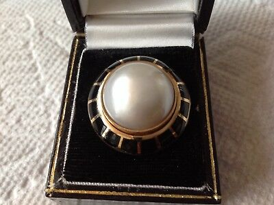 $1999 • Buy Erte Black Onyx & Mabe Pearl  Soleil Noir  Domed Ring Limited Edition 42/75 COA