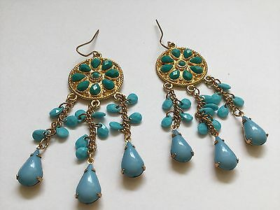 £12.99 • Buy Egyptian Revival Style Earrings Chandelier Blue Turquoise Colour Drops Gold Tone