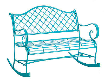 $299 • Buy Turquoise Rocker Indoor/Outdoor Metal Garden Bench - Free Shipping