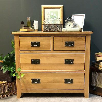 £259.99 • Buy Oak Chest Of Drawers / 4 Drawer 2 Over 2 Chest / Solid Wood Bedroom Grange