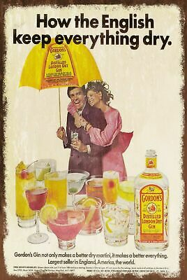 Gordons Dry Gin English Summer Advert Aged Look Vintage Retro Style Metal Sign • 2.49£