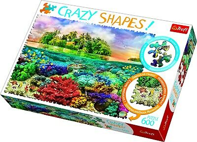 £9.99 • Buy Trefl 600 Crazy Shapes Piece Adult Large Tropical Island Coral Jigsaw Puzzle NEW