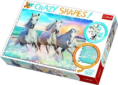 £9.49 • Buy Trefl 600 Crazy Shapes Piece Adult Large Galloping Among The Waves Jigsaw Puzzle