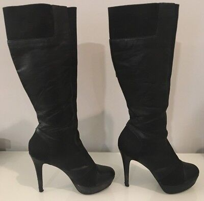 e399082a1bc Jessica Simpson Black Leather Sexy Knee High Stiletto Style Boots Size 8 •  24.99